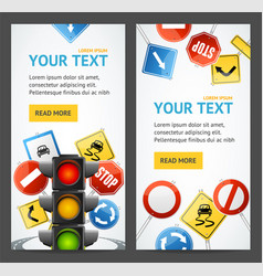 road sign drive school flyer banner posters card vector image vector image