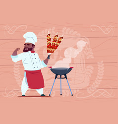 african american chef cook hold kebab smiling vector image