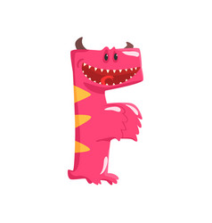 cartoon character monster letter f vector image vector image