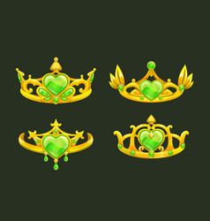 cartoon golden princess crowns set vector image vector image