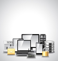 Computer network composition from devices vector image vector image