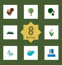 Flat icon nature set of floral monarch pond and vector