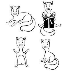 Four cats isolated on white background vector image