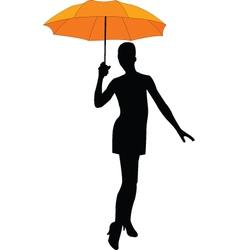 girl with umbrella - vector image