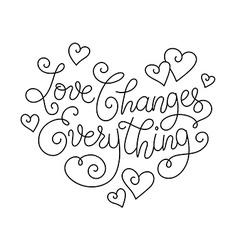 Inspiring heart lettering vector