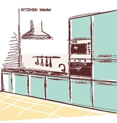 kitchen interior room color sketchy backgrou vector image