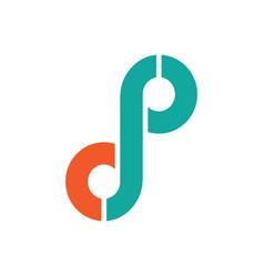 Letter d p logo vector
