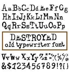 old typewriter font Vintage font Old vector image vector image