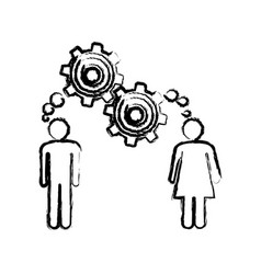 Sketch of man and woman with thought in a pinions vector