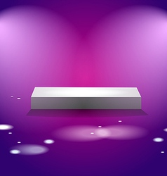White cube stage with pink lights vector image