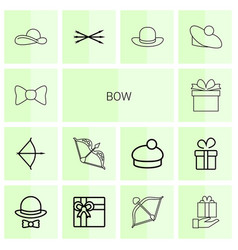 14 bow icons vector