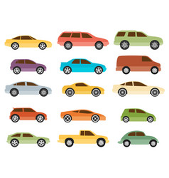 15 cars icon set transportation vector