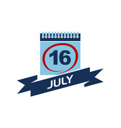 16 july calendar with ribbon vector