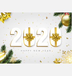 2020 new year gold white gift box number card vector image