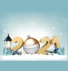 2021 new year background with a gold ball vector image