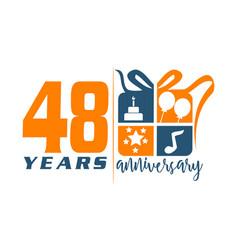 48 year gift box ribbon anniversa vector