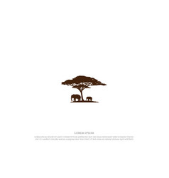 African acacia tree silhouette with elephant vector