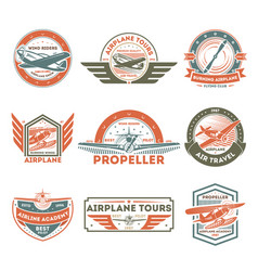 Airplane vintage isolated label set vector