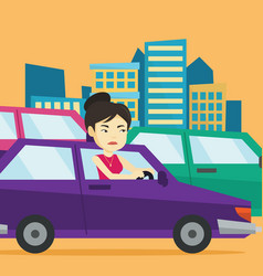 Angry asian woman in car stuck in traffic jam vector