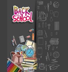 Back to school poster design with school vector