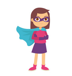 Beautiful girl kids wearing superhero costume and vector