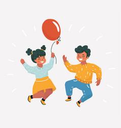 best friends jumping kids vector image