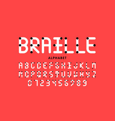 braille alphabet letters and numbers vector image