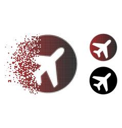 Broken pixel halftone avion icon vector