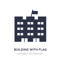 Building with flag icon on white background vector