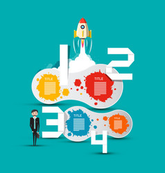 Business concept with rocket and infographic vector