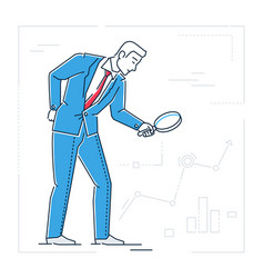 Businessman with a magnifying glass - line design vector