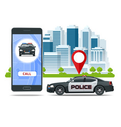 Call police app on smartphone screen emergency vector