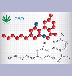 Cannabidiol cbd - structural chemical formula and vector