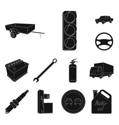 Car vehicle black icons in set collection for vector