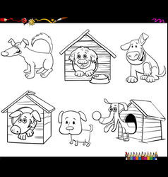Cartoon funny dogs characters coloring book page vector