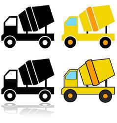 Cement mixer icons vector