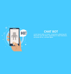 chat bot on phone in hand banner vector image
