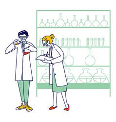 Chemist scientists characters in white coats vector