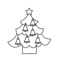christmas tree pine star and bells decoration vector image