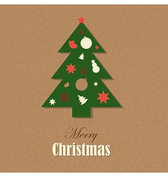 Christmas Vintage Card With Christmas Tree vector image vector image