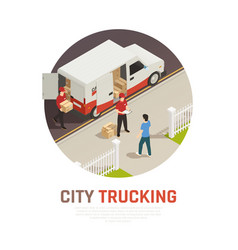 city trucking isometric round composition vector image