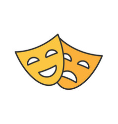 comedy and tragedy masks color icon vector image