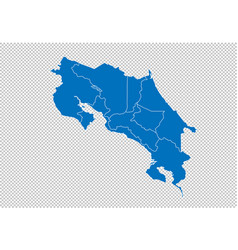Costa rica map - high detailed blue map with vector