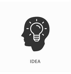 creative brain idea icon on white background vector image