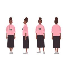 cute african american teenage girl dressed in vector image