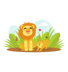 cute balion and parent happy wild african vector image