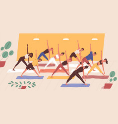 cute funny people practicing yoga together group vector image