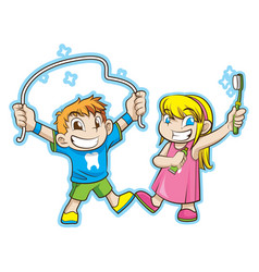 cute kids with dental care vector image