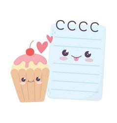 Cute notepad and cupcake love hearts kawaii vector