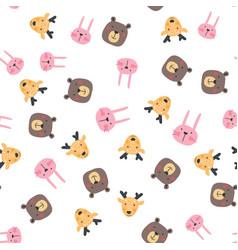 cute wild animals seamless pattern vector image
